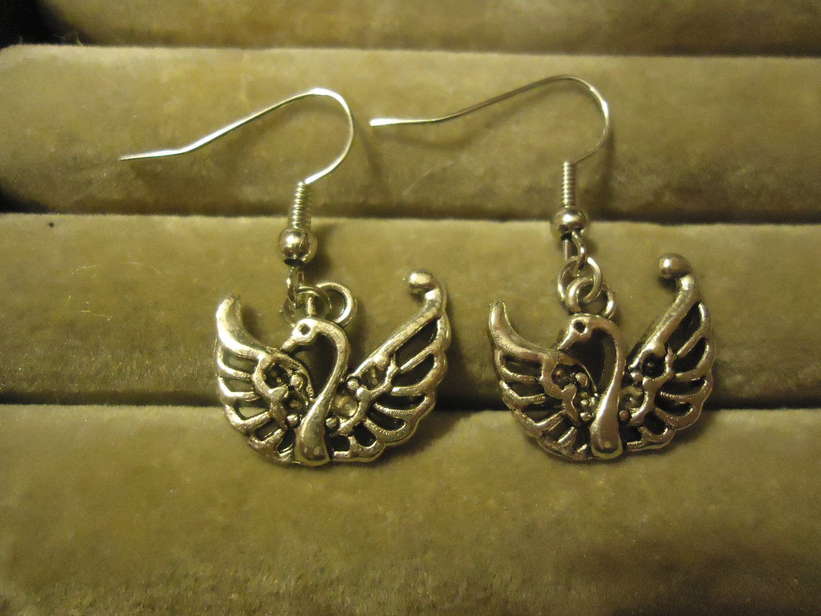 Primary image for SWAN DANGLE EARRINGS     C/S & H AVAILABLE   (Z92)