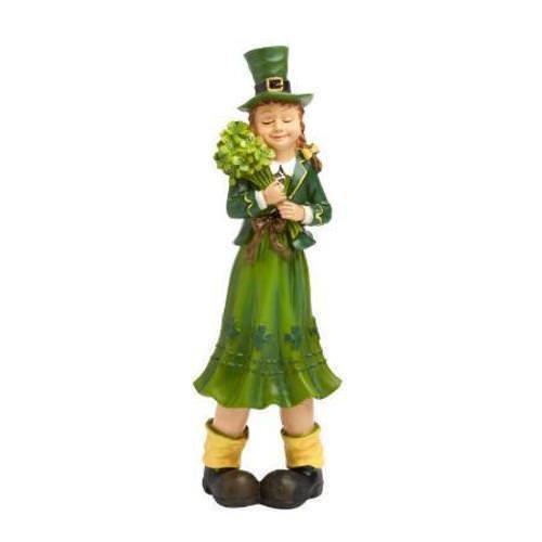 St Patricks Day Leprechaun Shamrock Girl Statue Figurine Green Luck Irish Clover