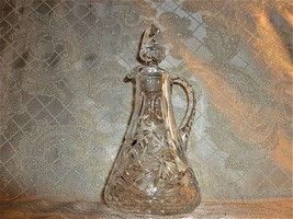 Antique Crystal Cruet Original Matching Stopper Both Marked With 7 On Bo... - $80.00