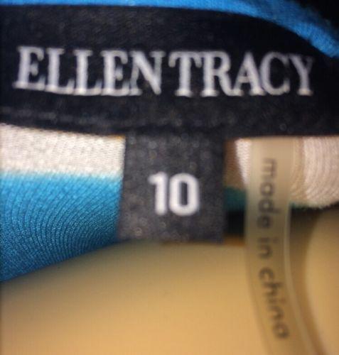 Ellen Tracy Size 10 Womens Striped Dress Bin #i