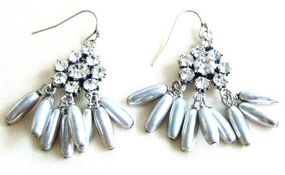 J crew earrings clear crystals gray beads