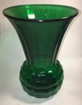 """Forest Green 9"""" Pineapple  vase Anchor hocking Glass vintage depression ... - $14.85"""