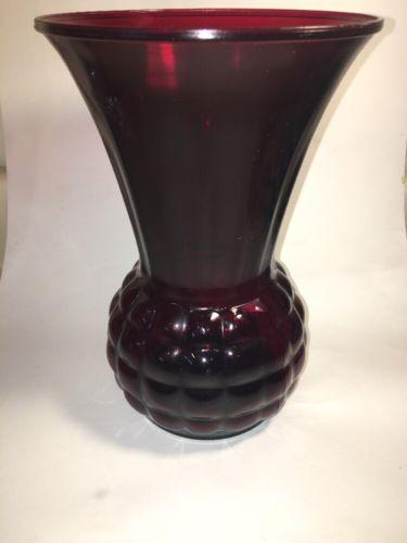 Vtg Royal Ruby Red Pineapple Glass Vase 9 And Similar Items