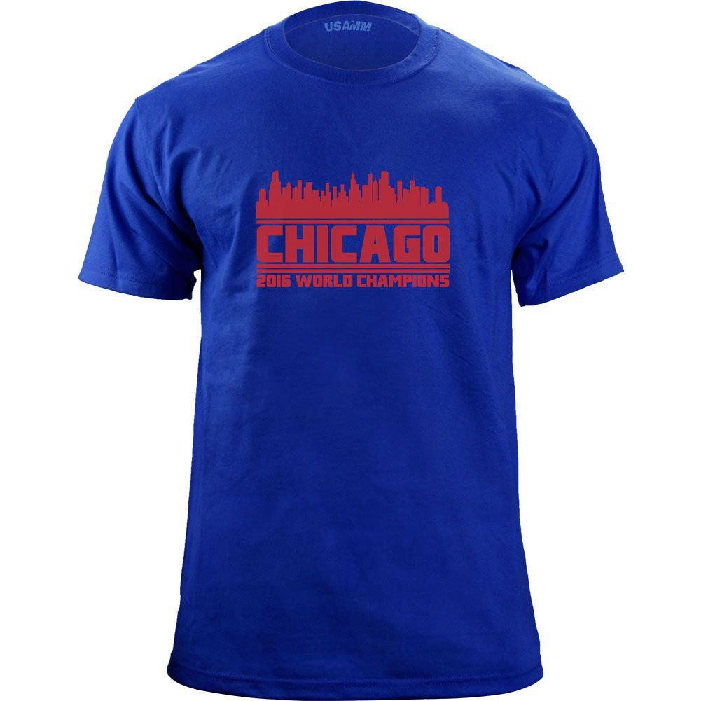 Original Chicago Illinois 2016 Baseball Champions Skyline Team Colors T-Shirt