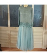 Vintage Heavily Beaded Fringed Silk Chiffon 30s Style Ball Gown Formal D... - $155.99