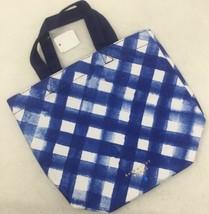 Bath & Body Works Blue & White Gingham Cotton Canvas Mini Tote Gift Bag NEW - $9.70