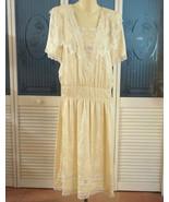 Vintage Jessica McClintock 20s 30s French Lace Silk Flapper Dress Drop W... - $185.00