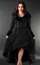 Black Evil Queen Brocade Gothic Victorian Winter Long Corset-Back Steamp... - $168.77
