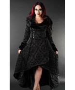 Black Evil Queen Brocade Gothic Victorian Winter Long Corset-Back Steamp... - $168.77