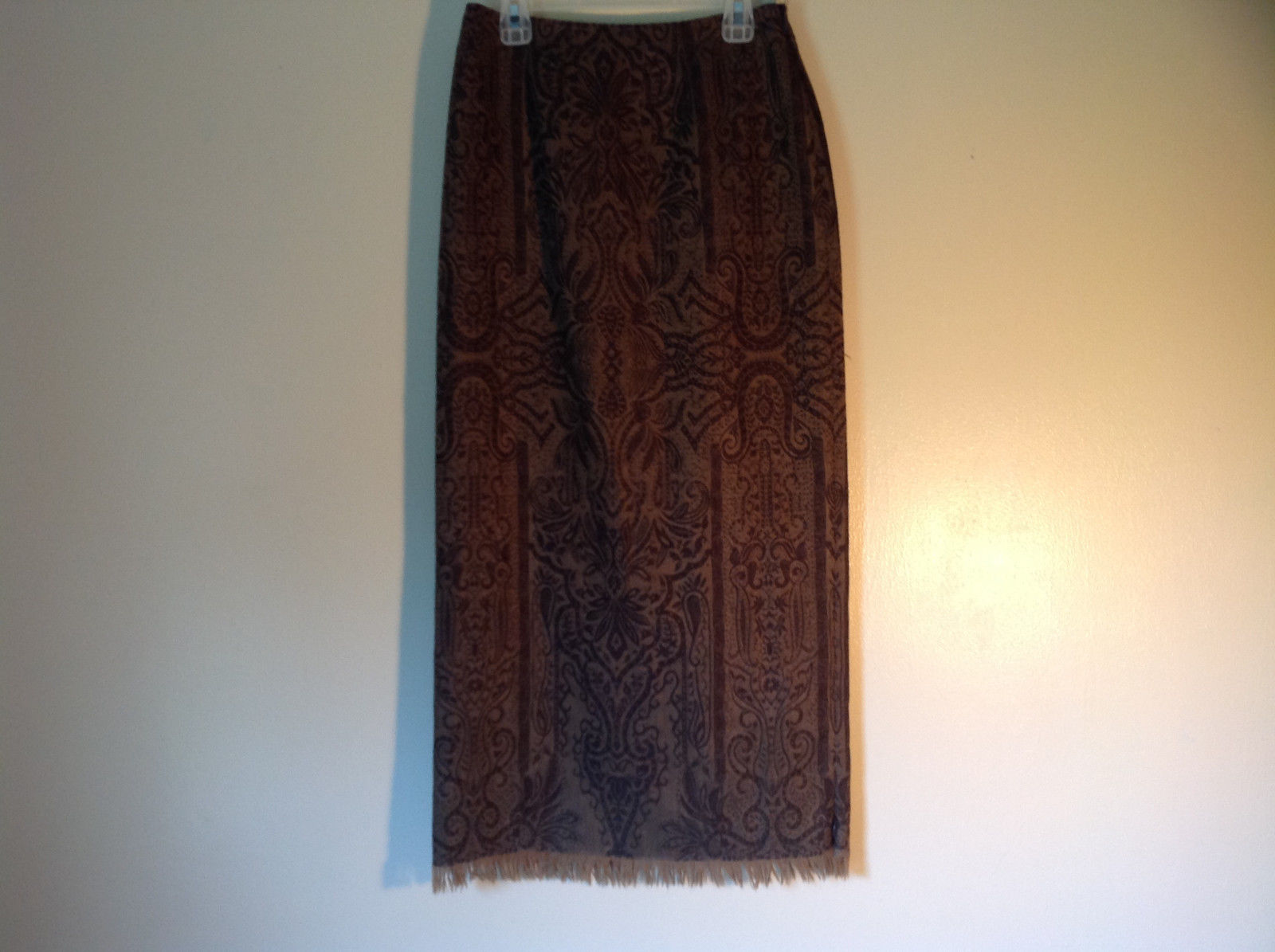 Brown Floral Vintage Look Skirt by Dana Buchman Size 2 Petite 100 Percent Wool