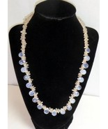 Handmade FROSTED ICE Clear Stone Beaded 20 in Necklace Spring Ring Closure - $4.95