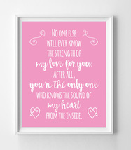 The Sound of My Heart from the Inside Nursery 8x10 Wall Art Decor PRINT Pink - $7.50