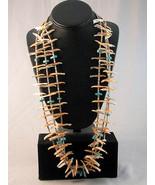 """BIRDS FETISH Necklace 31.5"""" 3 Strand Turquoise ... - $1,150.00"""