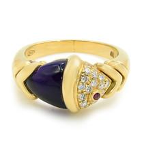 Bulgari Gelbgold Naturalia Fisch Ring Amethyst Diamanten Sz 6.75 - $4,633.81