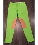 Ralph Lauren Palermo Hudson Twill Jodhpur Moore Lime Green Suede Riding ... - $75.99