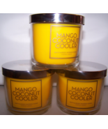 Lot of 3 Bath & Body Works Mango Coconut Cooler Scented Jar Candle w Lid... - $23.25