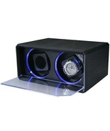 Diplomat Double (2) Watch Winde w/ Blue LED Lighting - Black Leatherette... - $69.28