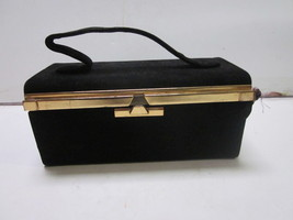 VINTAGE BLACK VELVET TRAVEL EVENING MAKE UP CAS... - $12.86