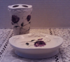 Vintage Purple Rose Toothbrush Holder & Soap Dish // Vanity Decor - $14.00