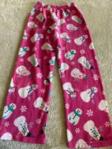 Childrens Place Pink White Snowman Snowflakes Fleece Pajama Pants 7-8 - $5.95
