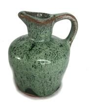 "Vintage Redware Pottery Brown Drip Lava Glaze Small Pitcher 3.25"" - $9.74"