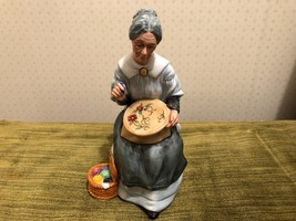 "Royal Doulton Embroidering Figurine Made in England 7 3/4"" Grandmother - $79.15"