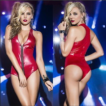 New Design Women Sexy Leather Lingerie Baby Doll Zip Leather Chemise Eur... - $30.00