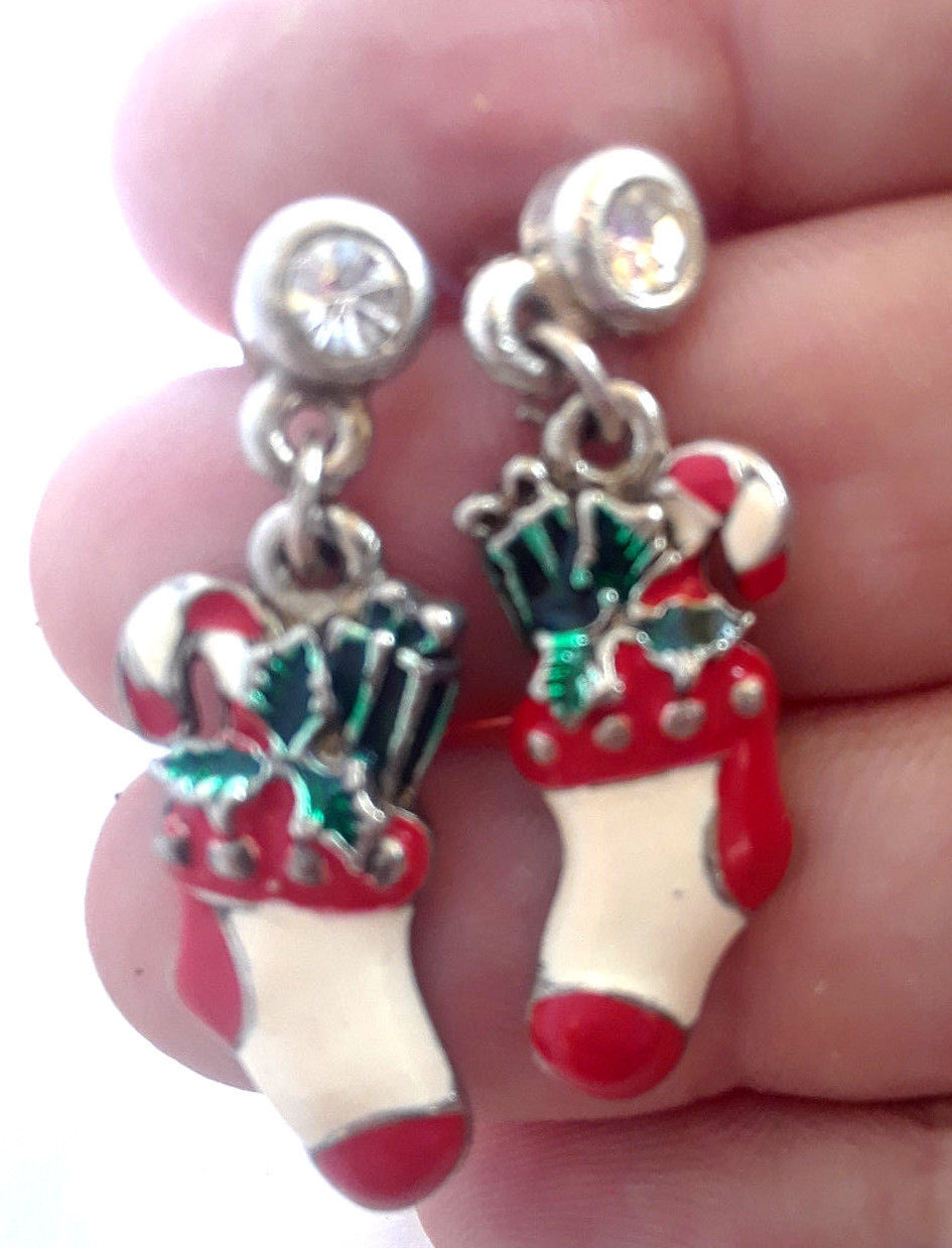 Primary image for STUNNING VINTAGE ESTATE CHRISTMAS STOCKINGS DANGLE FROM RHINESTONE POST EARRINGS