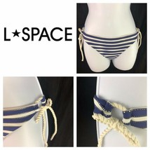 L Space Rope Tie Sides Blue & White Stripe String Bikini Bottoms Nautical L - $19.80