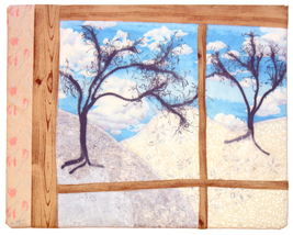 Winter from the Window: Quilted Art Wall Hanging - $340.00