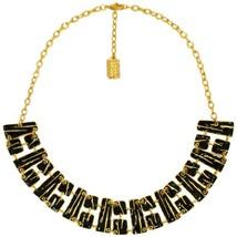 Karine Sultan 24k Gold-plate & Black Enamel Geometric Collar Necklace, Celeb Fav - $69.95