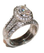 Women's 2 Piece Halo Cz Wedding Band Ring Set S... - $22.99