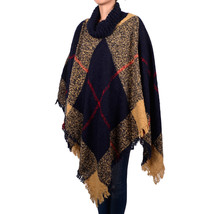 Women's Fashion Plaids & Checks Knitted Tassel Shawl Poncho Beige Navy High Neck - $17.99