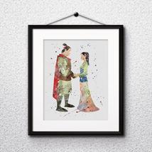 Disney Mulan Princess Art Print Printable Watercolor poster painting nur... - $1.75
