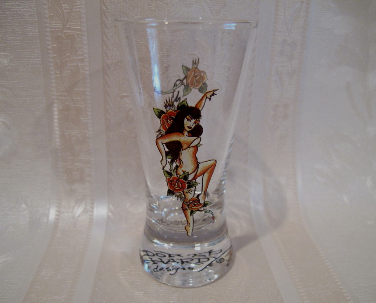 DON ED HARDY Shot Glass Souvenir Collector BRUNETTE LADY in BIKINI and ROSES
