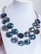 "Kenneth Cole Fashion cascade Necklace Blue Sapphire color Geode silver tone 20""L - $51.48"