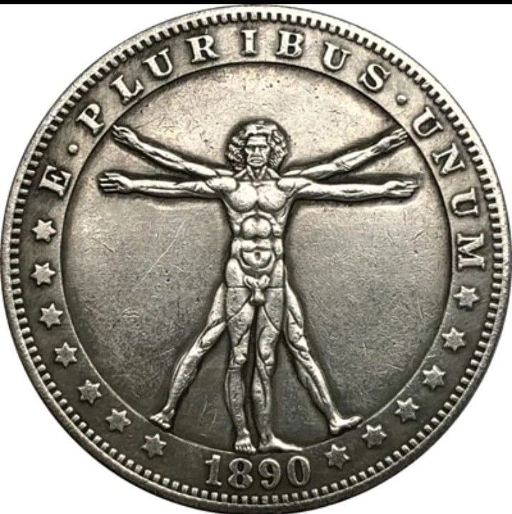 Primary image for Rare New Hobo Nickel 1890 Morgan Dollar Leonardo da Vinci The Vitruvian Man
