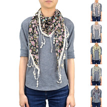 """65"""" Floral Little Flower Triangle Spring Summer Scarf Lace Fringe Chiffon Cute - $5.95"""