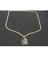 Sterling Silver Chain with Black striped Agate Pendant - $48.00