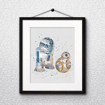 BB8 and R2-D2 Star Wars, Printable, Print, painting, poster, wall art ro... - $1.75