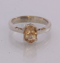 Orange Copper Sunstone Gem Handmade Silver Ajoure Filigree Ladies Ring size 8.75 - £91.01 GBP