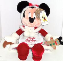 Walt Disney World Minnie Mouse Plush Mrs Claus Christmas Red Velvet Dress Toy - $69.95