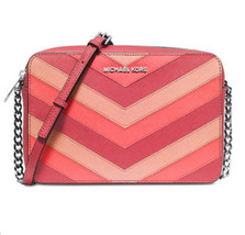 Michael Kors Jet Set Large East West Crossbody Messenger Chevron Coral NWT - $98.99