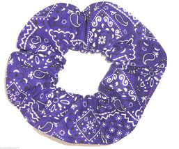 Purple Bandana Hair Scrunchie Scrunchies by Sherry Cotton Fabric Ponytail Holder - $6.99