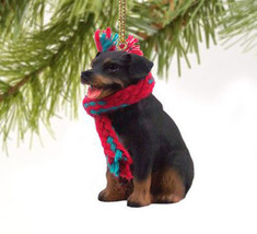 ROTTWEILER DOG CHRISTMAS ORNAMENT HOLIDAY XMAS Figurine Scarf  gift - $9.50