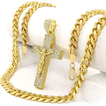 "Men Iced Out Hip Hop 14k Gold Plated Jesus Big Cross Cz Pendant 30"" Cuba... - $29.69"