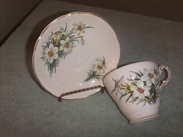 Cup & Saucer Regency England Bone China White with Daffodils  #16 - $16.69