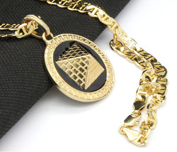 "Mens Round Pyramid Pattern Gold Plated Black 24"" Gucci Chain Pendant Nec... - $13.85"