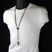 Men's Hip Hop 5mm BLACK Beads Round Guadalupe Rosary & Jesus Cross Neckl... - $9.89