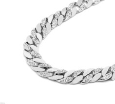 Silver Finish Iced Out Hip Hop CZ Chain Mens Miami Cuban Chain necklace - $39.59